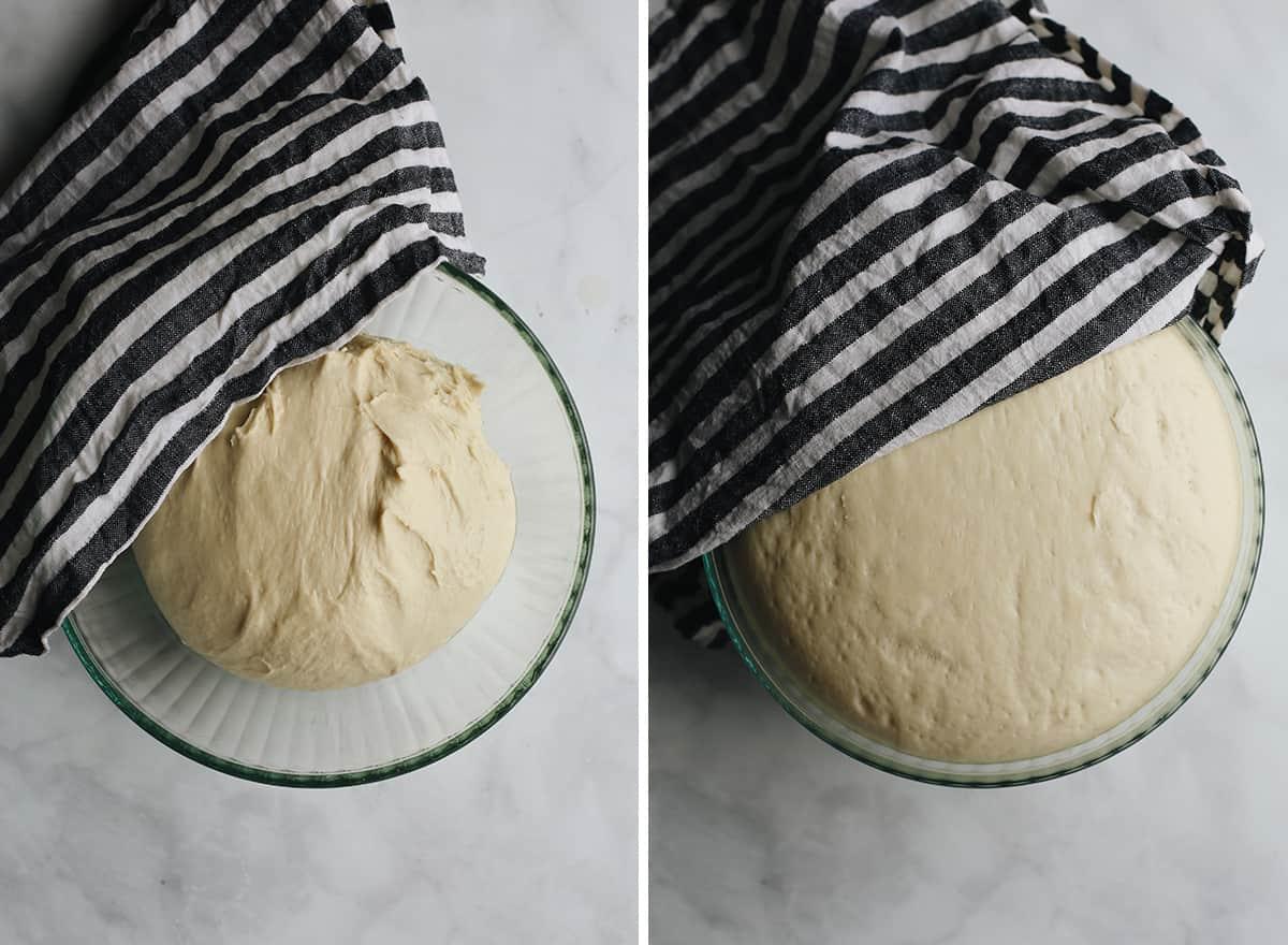 two photos showing How to Make Homemade Hamburger Buns