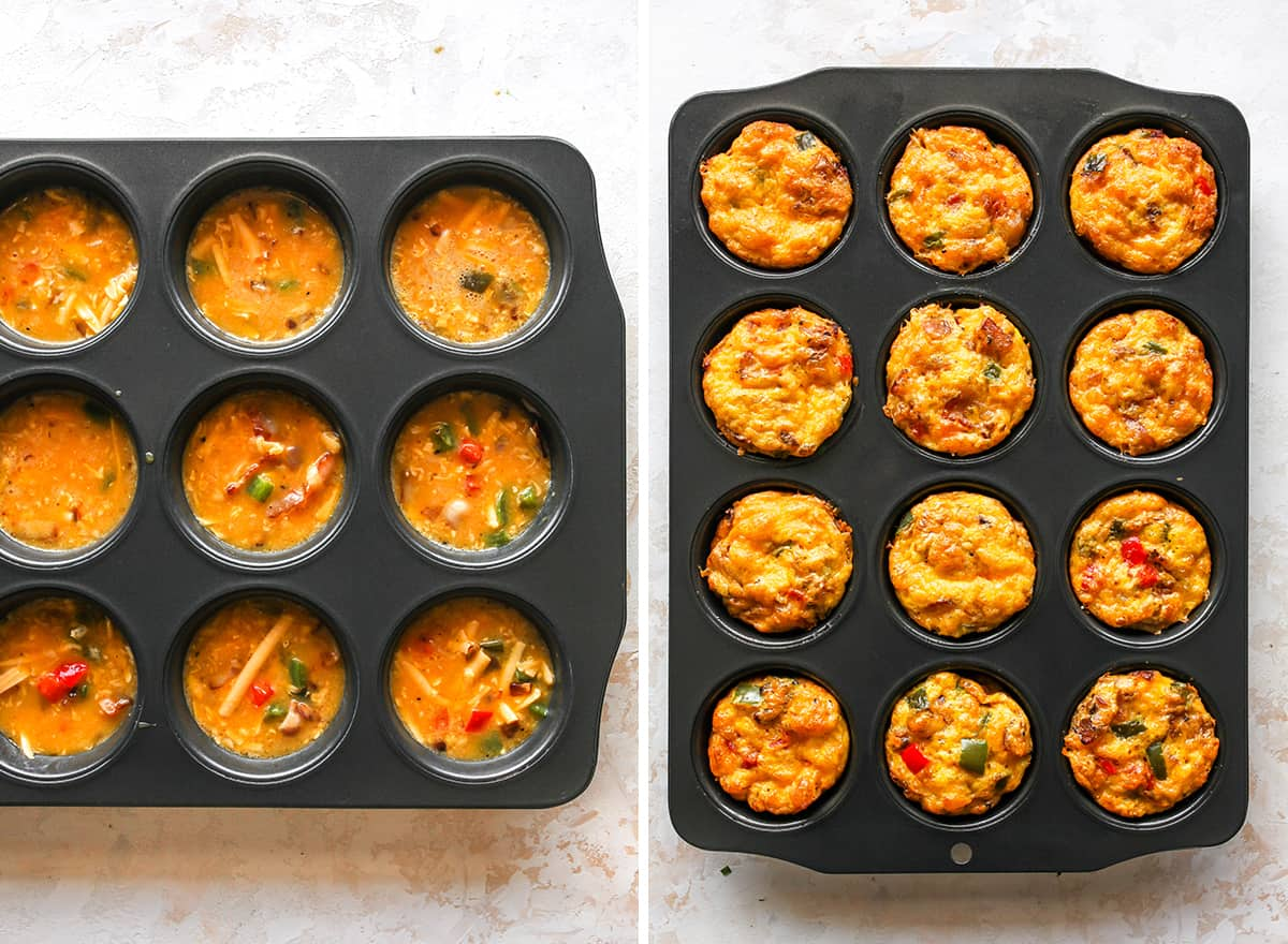 two overhead photos showing How to Make Breakfast Egg Muffins (Egg Cups)