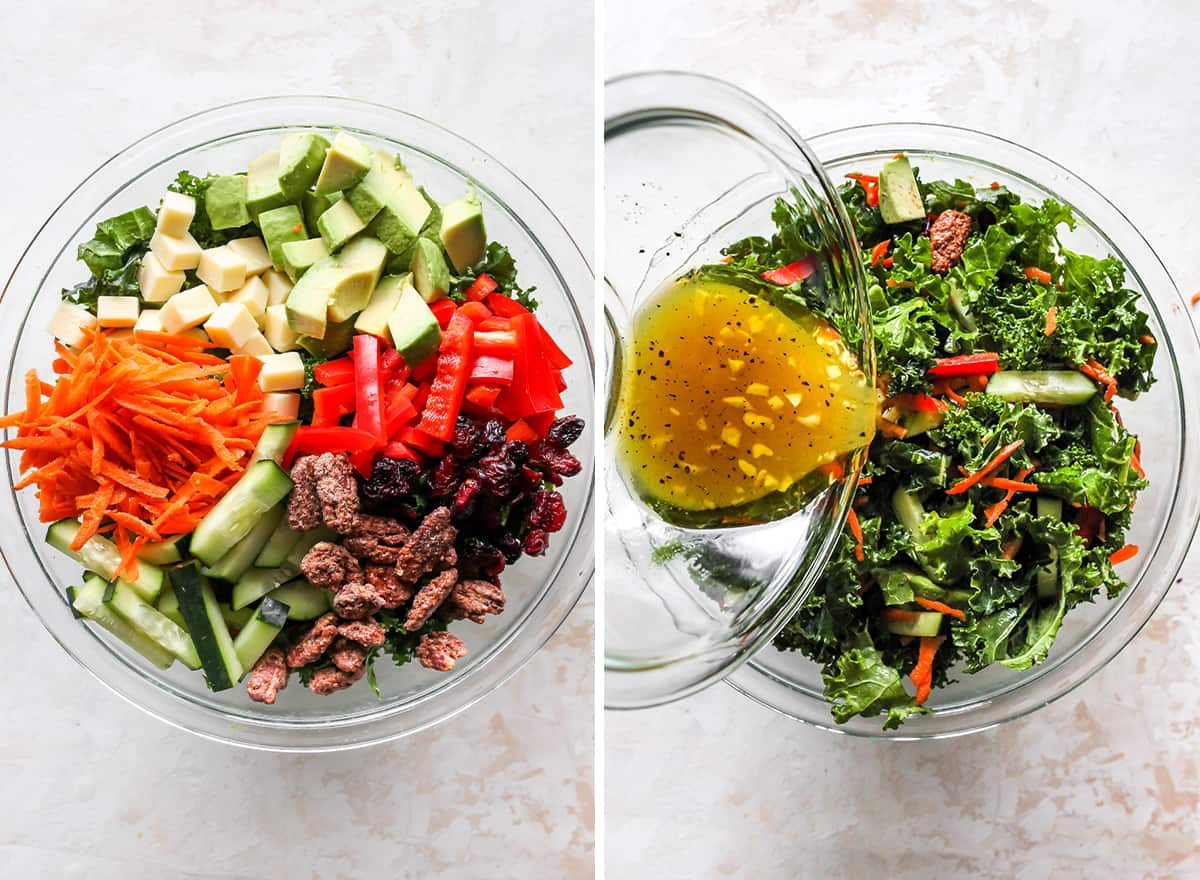 two overhead photos showing how to make kale salad