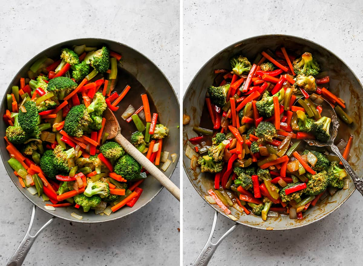 two overhead photos showing How to Stir Fry Vegetables