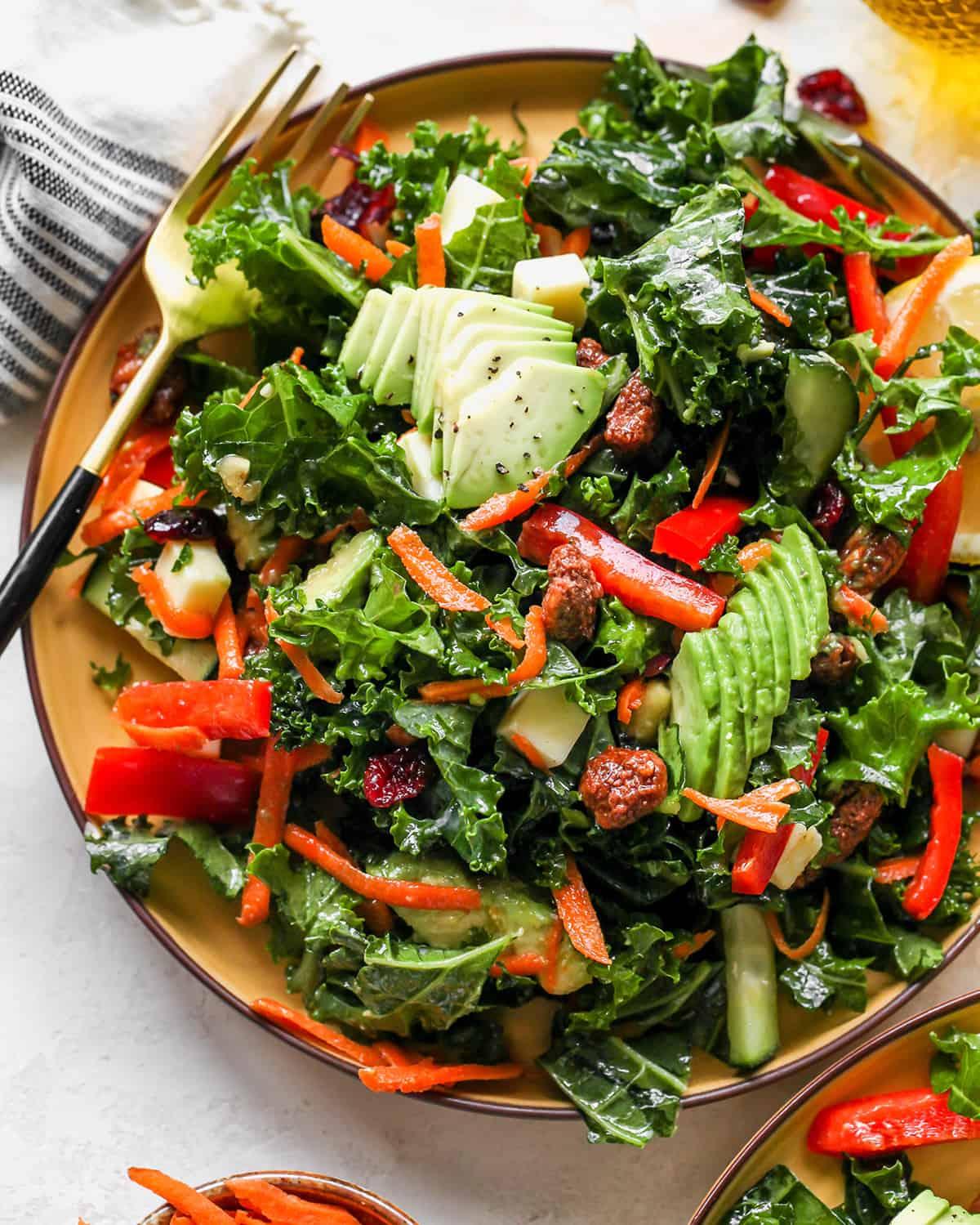 overhead photo of Kale Salad on a plate