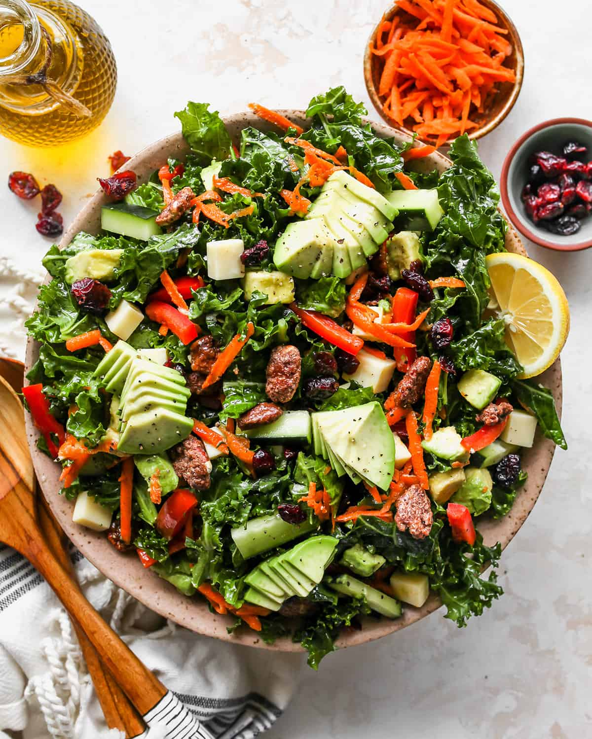 overhead photo of Kale Salad in a bowl