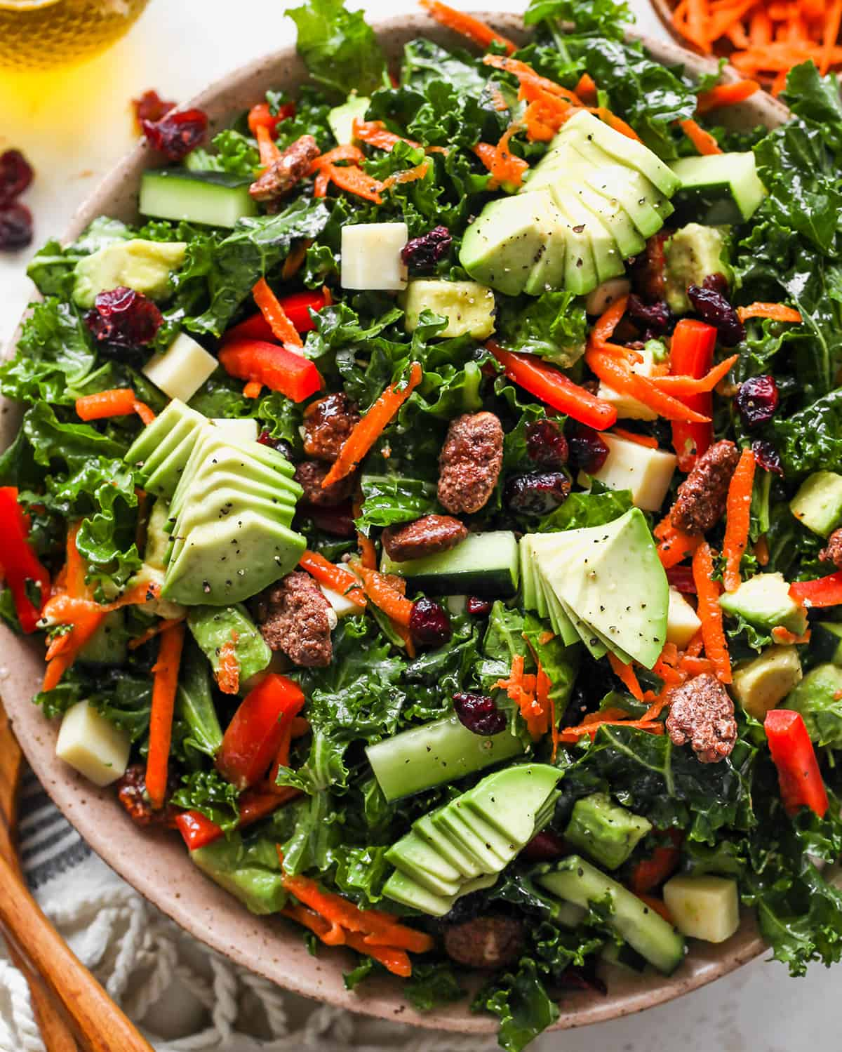 up close overhead photo of Kale Salad Recipe