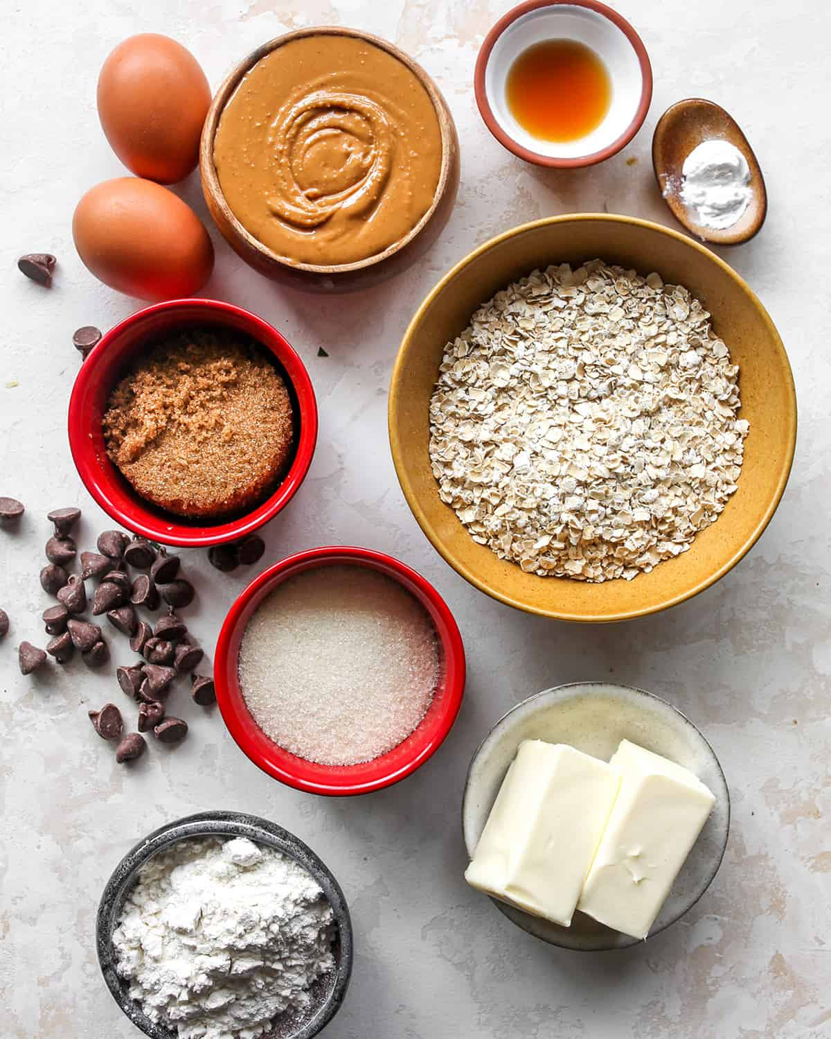 overhead view of the ingredients in these Peanut Butter Oatmeal Cookies