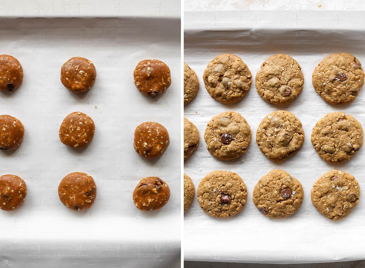 two overhead photos showing How to make Peanut Butter Oatmeal Cookies
