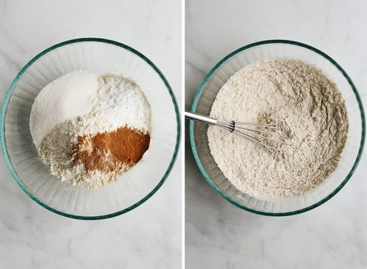 two photos showing How to Make Pumpkin Scones - combining dry ingredients