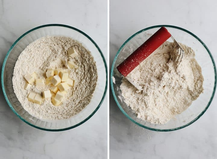 two photos showing How to Make Pumpkin Scones - cutting butter into dry ingredient mixture with a pastry cutter