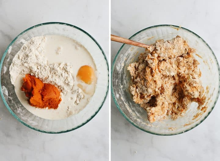 two photos showing How to Make Pumpkin Scones - adding wet ingredients to the dry ingredients
