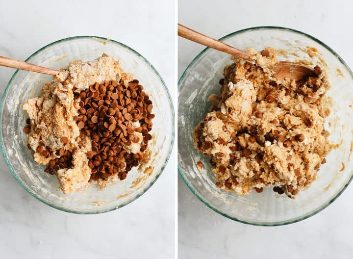 two photos showing How to Make Pumpkin Scones - adding cinnamon chips