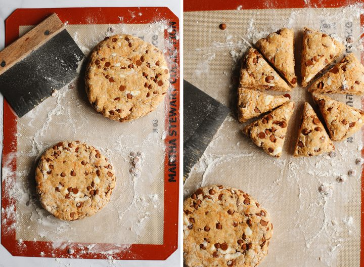 two photos showing How to Make Pumpkin Scones - forming into two discs and then cutting into 16 scones