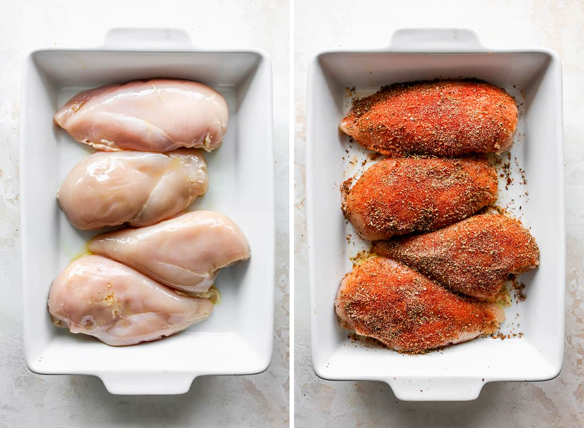 two overhead photos showing How to Make Baked Hummus Chicken