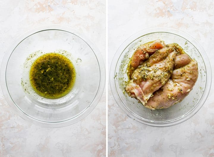 two photos showing how to make baked pesto chicken: marinating chicken breasts