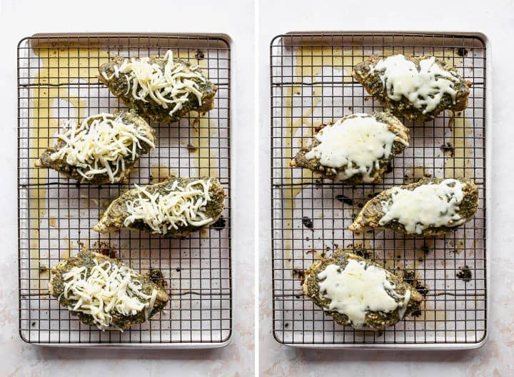 two photos showing how to make baked pesto chicken