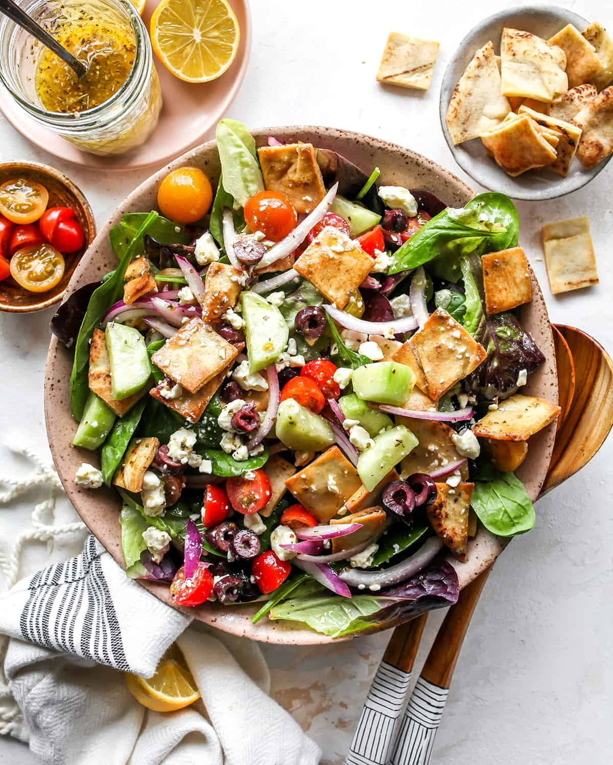 overhead photo of Greek Salad in a bowl