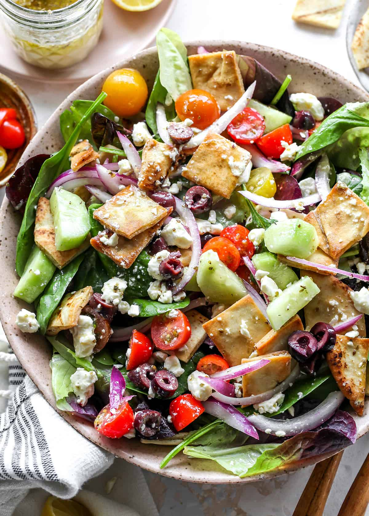 up close overhead photo of Greek Salad in a bowl