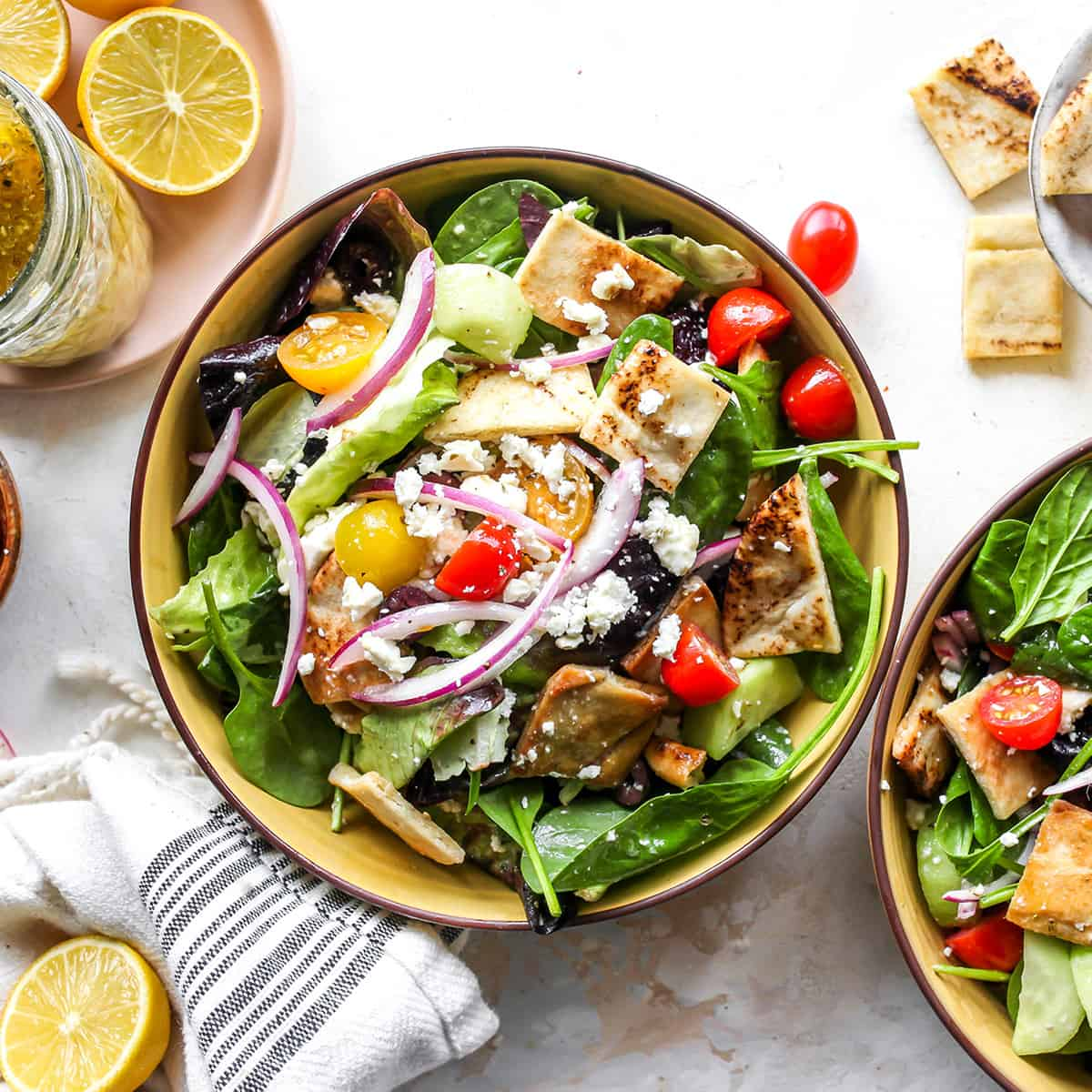 overhead photo of Greek Salad in a smaller bowl
