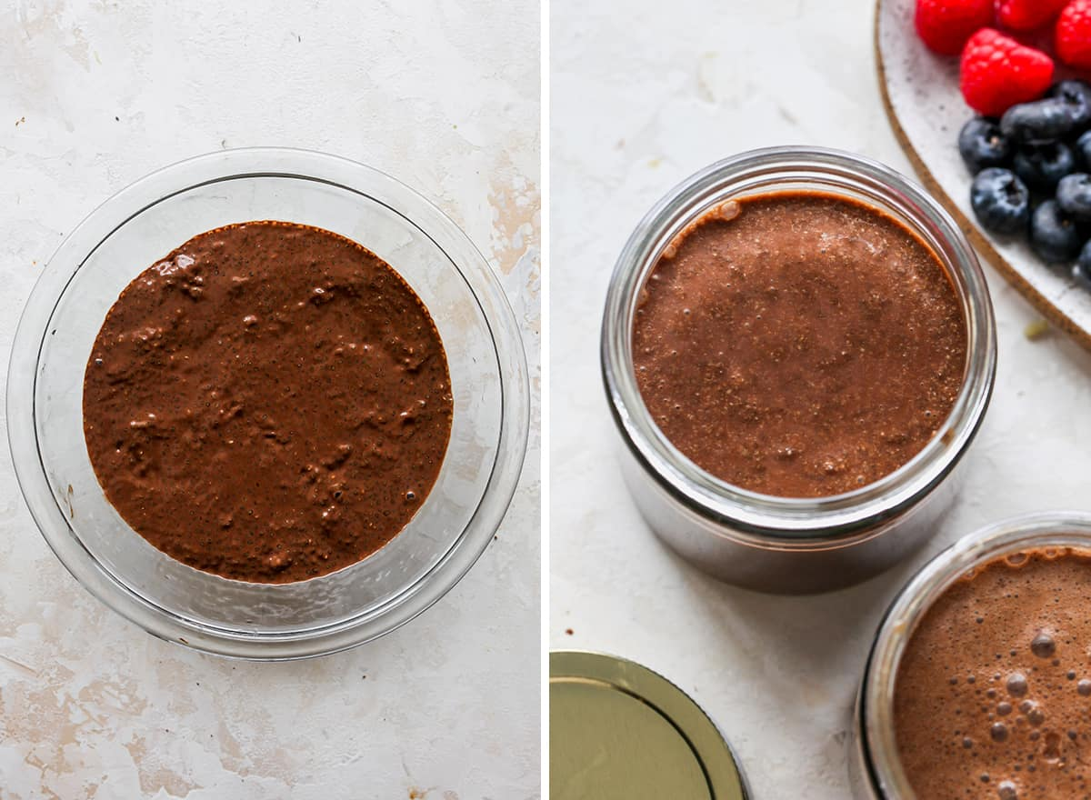 two overhead photos showing How to Make Chocolate Chia Pudding