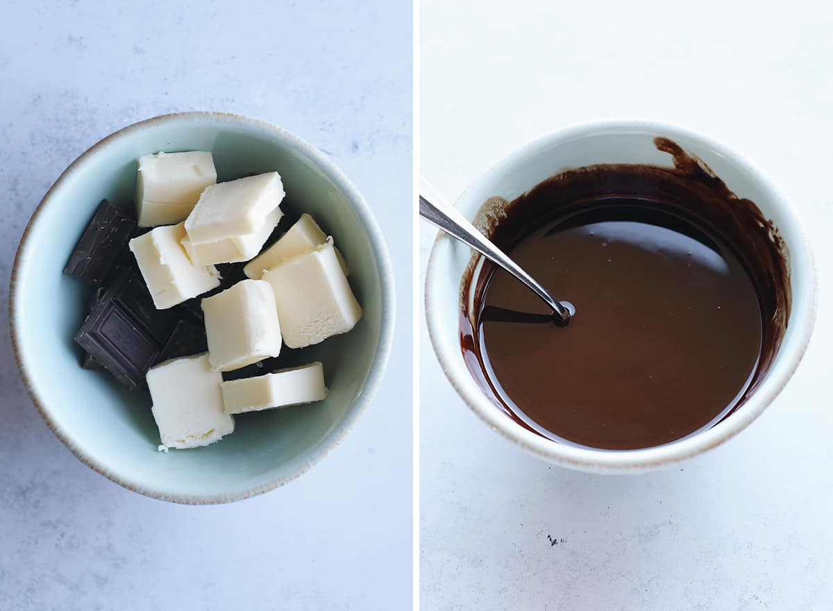 two overhead photos showing How to Make Zucchini Brownies