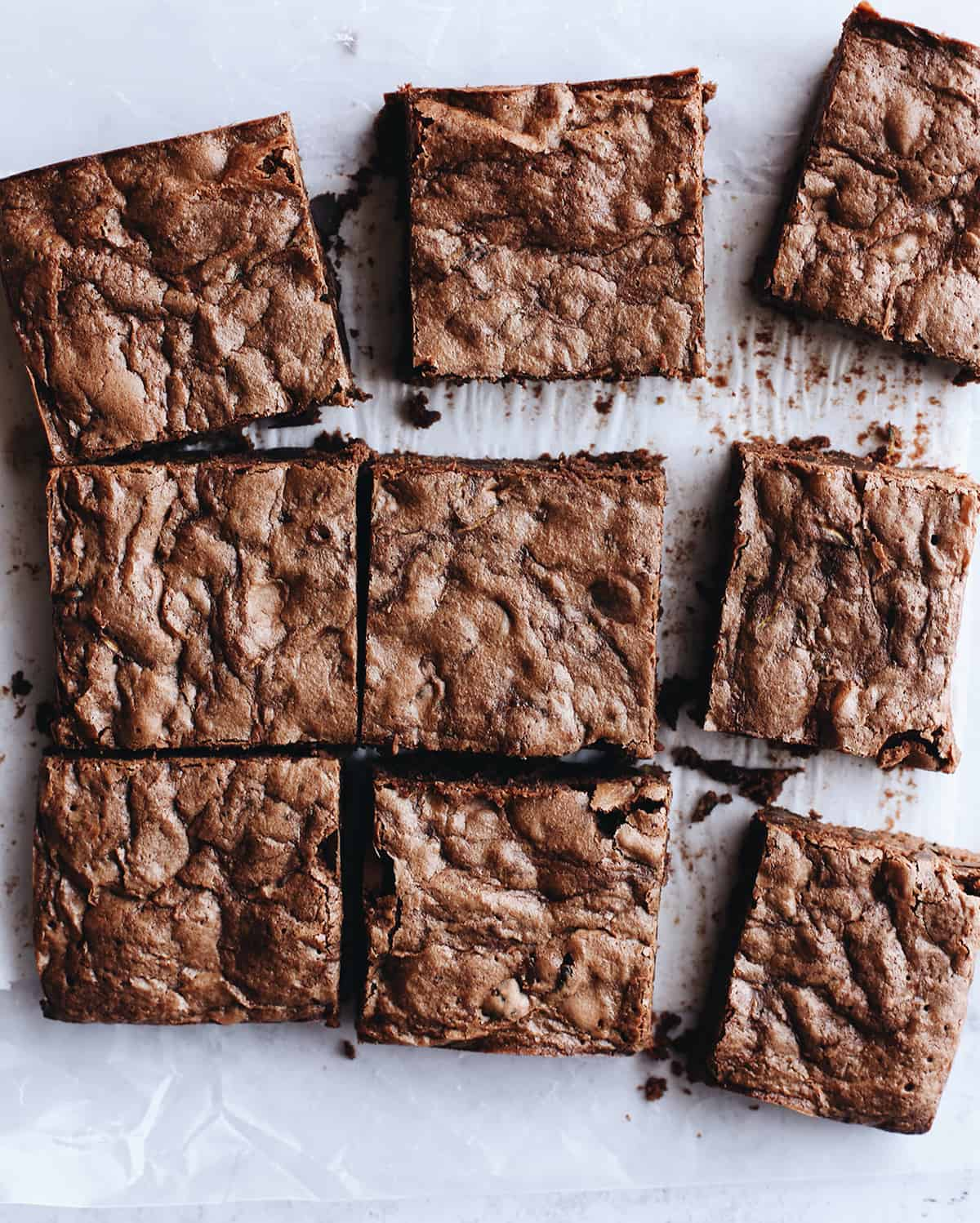 9 Chocolate Zucchini Brownies cut into squares