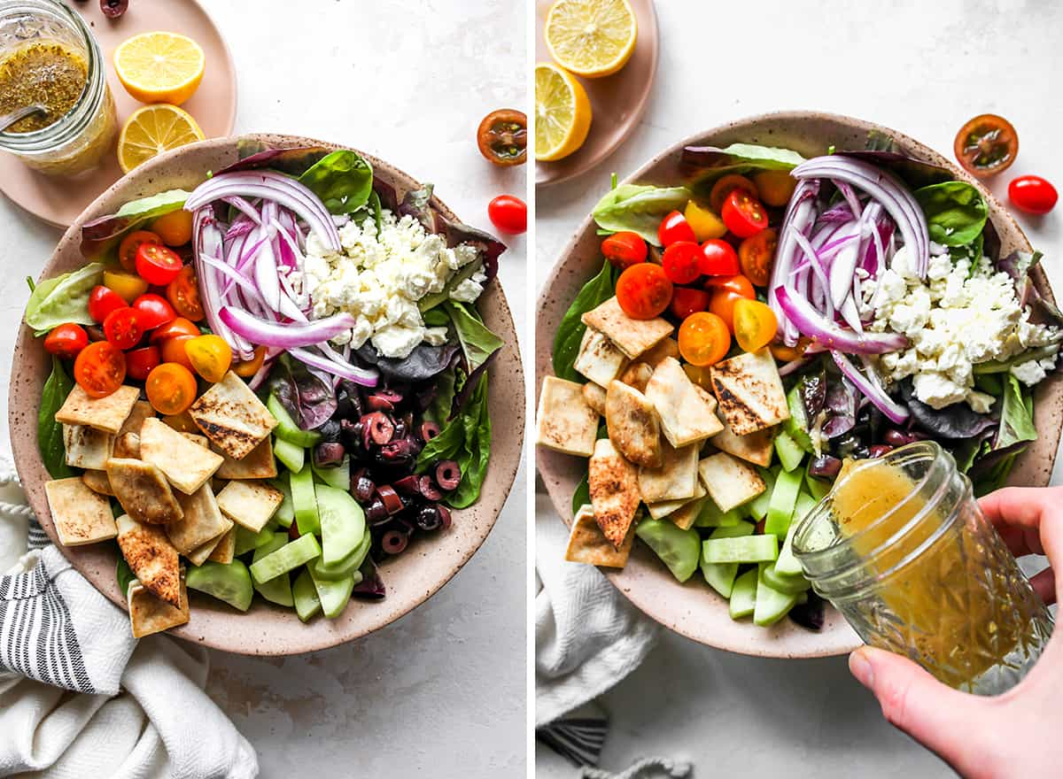 two overhead photos showing How to Make Greek Salad