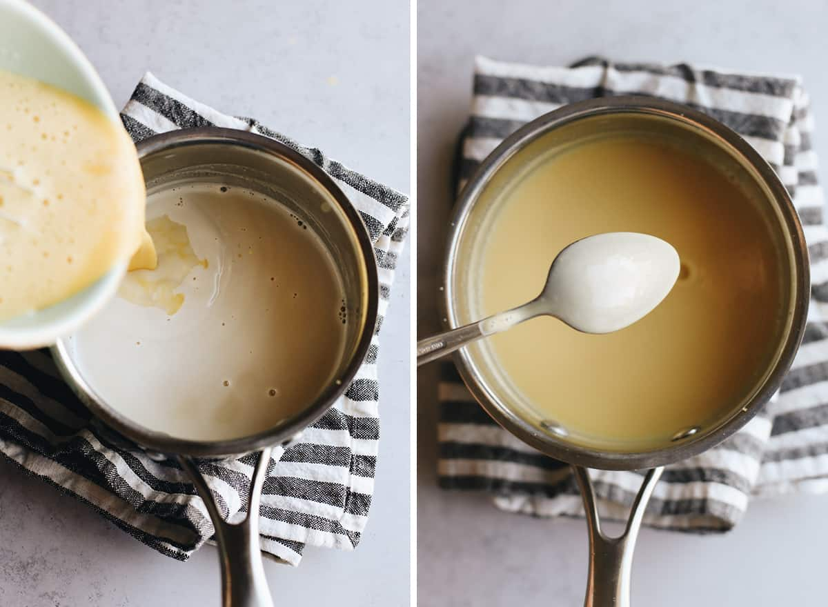 two overhead photos showing How to Make Oreo Ice Cream