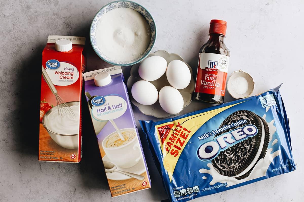 overhead photo of the ingredients in this Oreo ice cream recipe