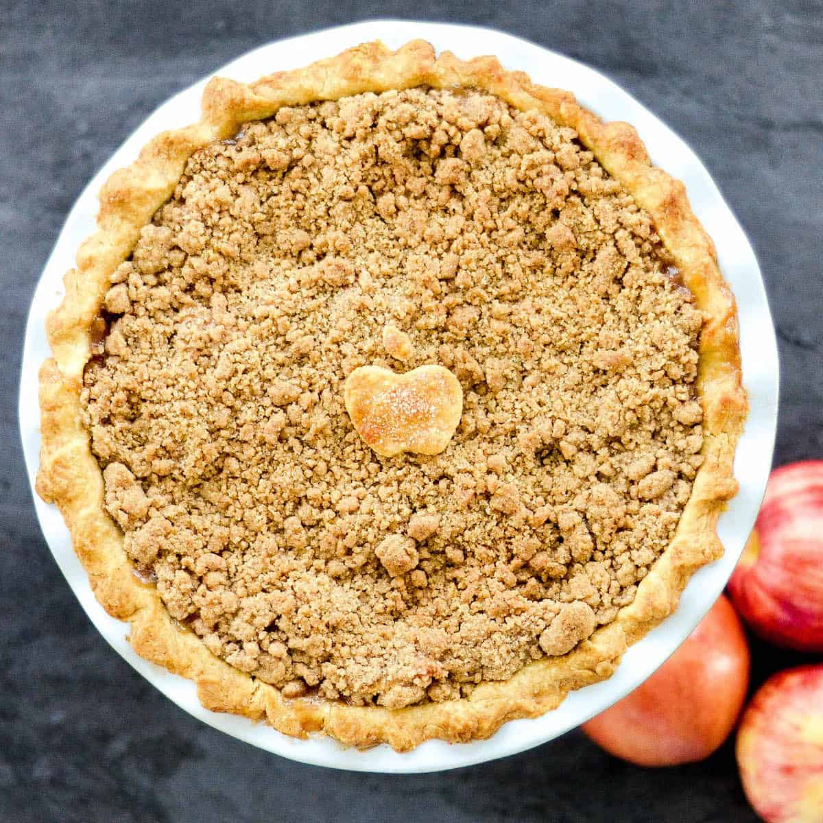 Overhead view of The best homemade Apple Crumble Pie.