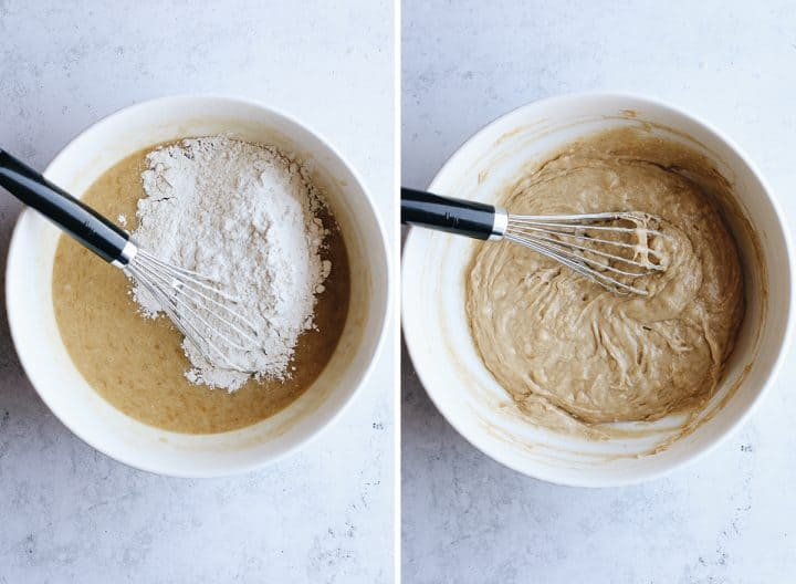 two photos showing how to make Banana Chocolate Chip Muffins, adding the dry ingredients