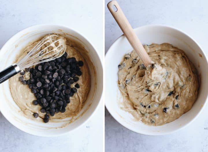 two photos showing adding chocolate chips to the Banana Chocolate Chip Muffin batter