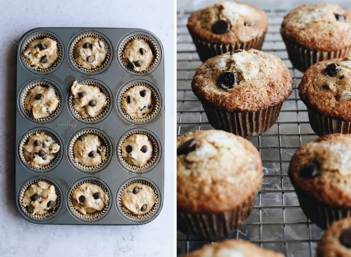 two photos showing Banana Chocolate Chip Muffins before being baked in a muffin tin, then cooling on a wire rack