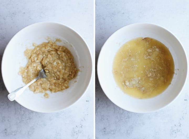two photos showing how to make Banana Chocolate Chip Muffins, mashing bananas & adding butter