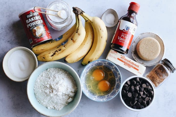photo of the ingredients in this Banana Chocolate Chip Muffins recipe