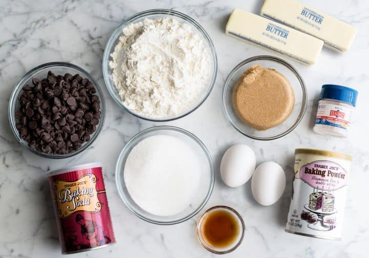 overhead photo of the ingredients in thsi Best Chocolate Chip Cookies Recipe