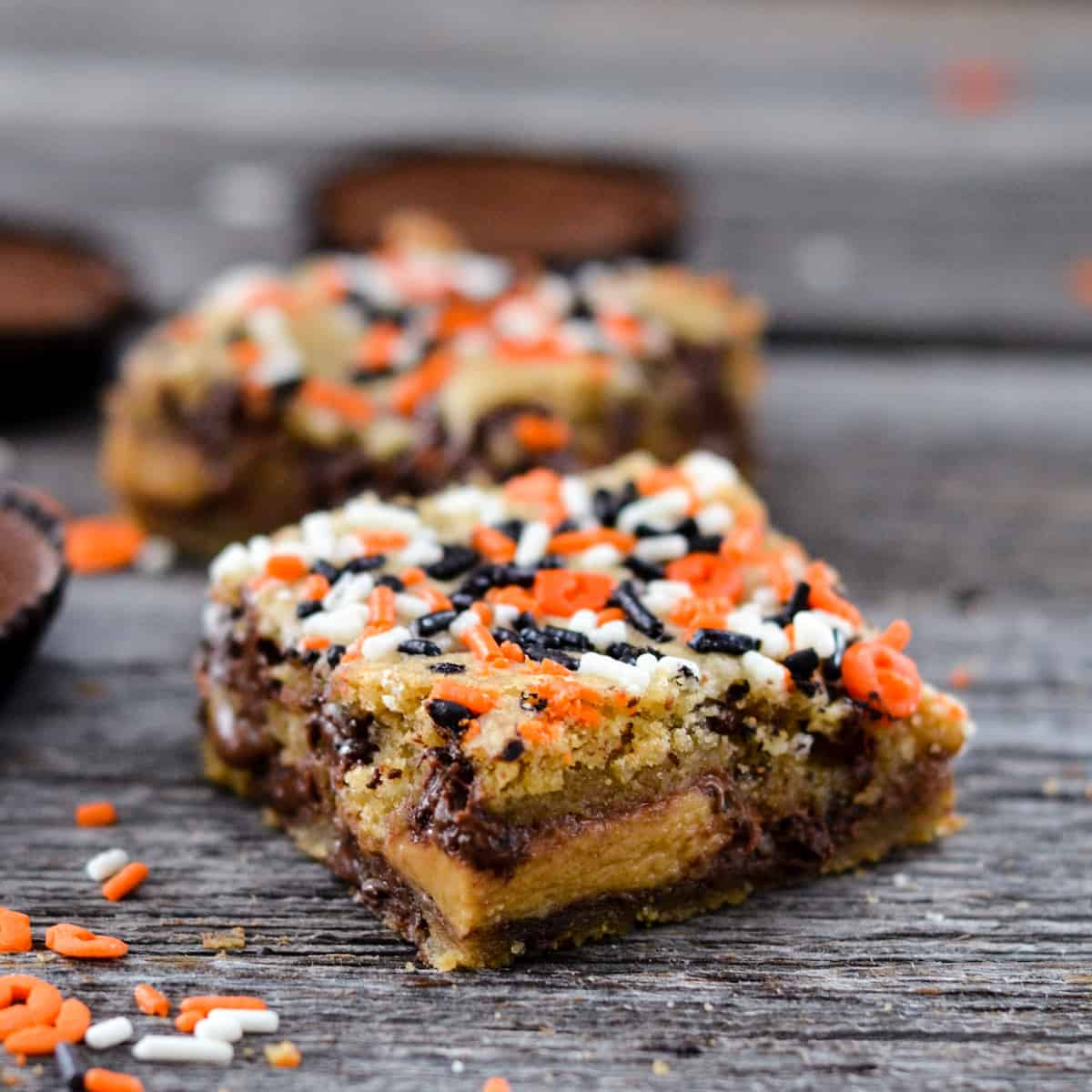 Overhead side view of two Candy Cookie Bars.