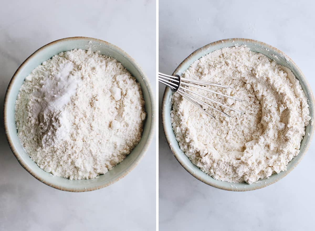 two photos showing how to make cookie ice cream sandwiches - mixing the dry ingredients