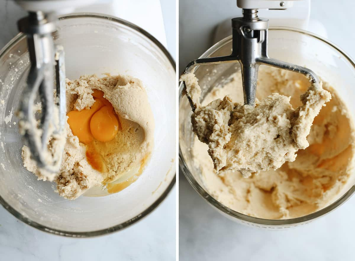 two photos showing how to make cookie ice cream sandwiches - adding eggs
