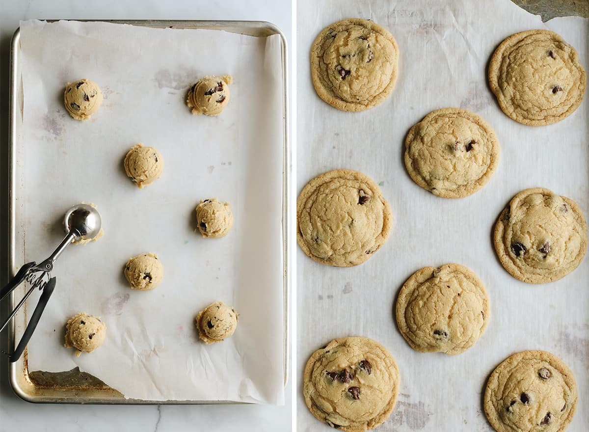 two photos showing how to make ice cream cookies - portioning cookie dough and baking