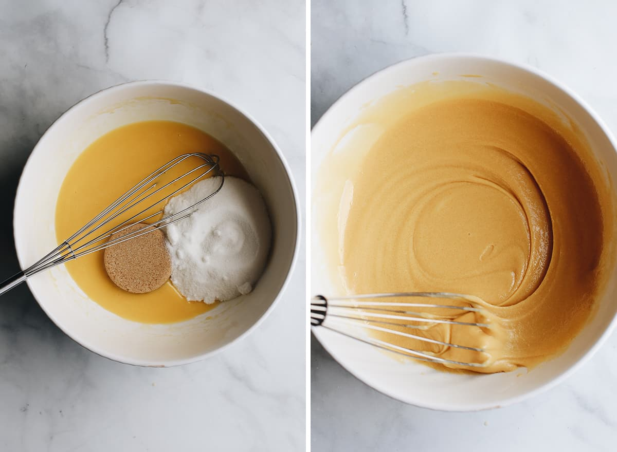 two overhead photos showing How to Make Chocolate Zucchini Bread