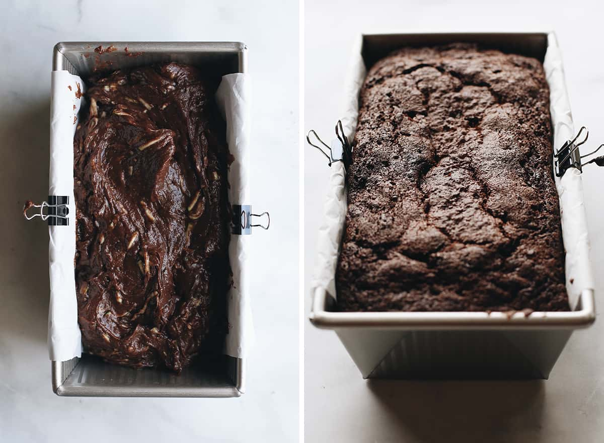 two photos showing How to Make Chocolate Zucchini Bread