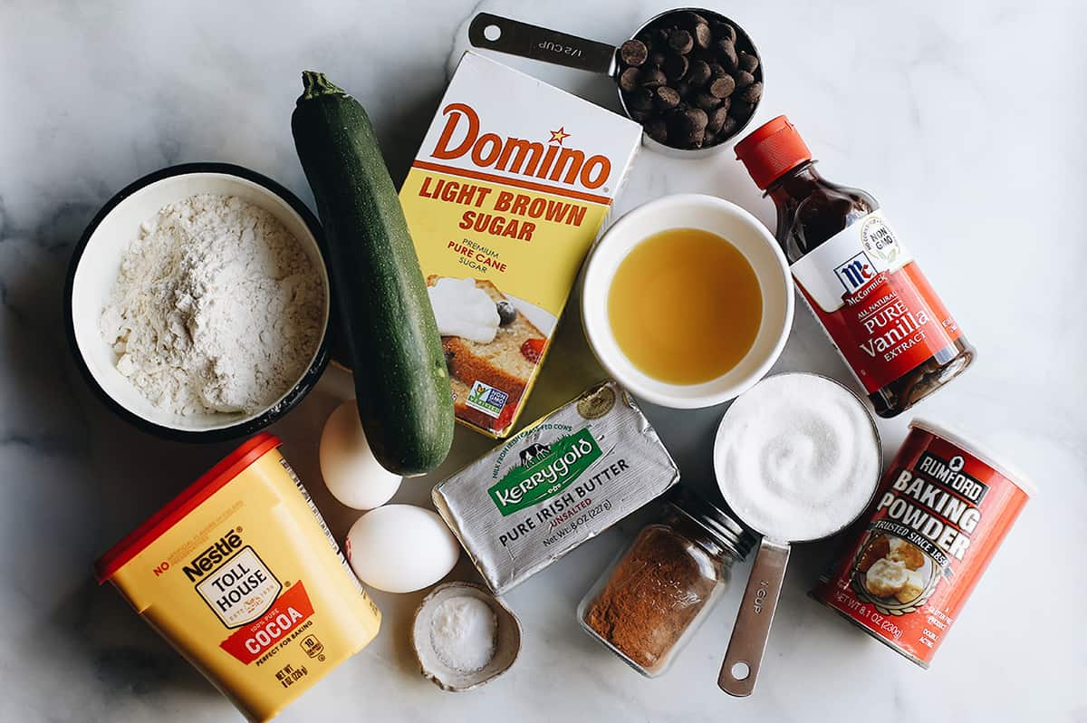 photo of the ingredients in this double chocolate zucchini bread recipe