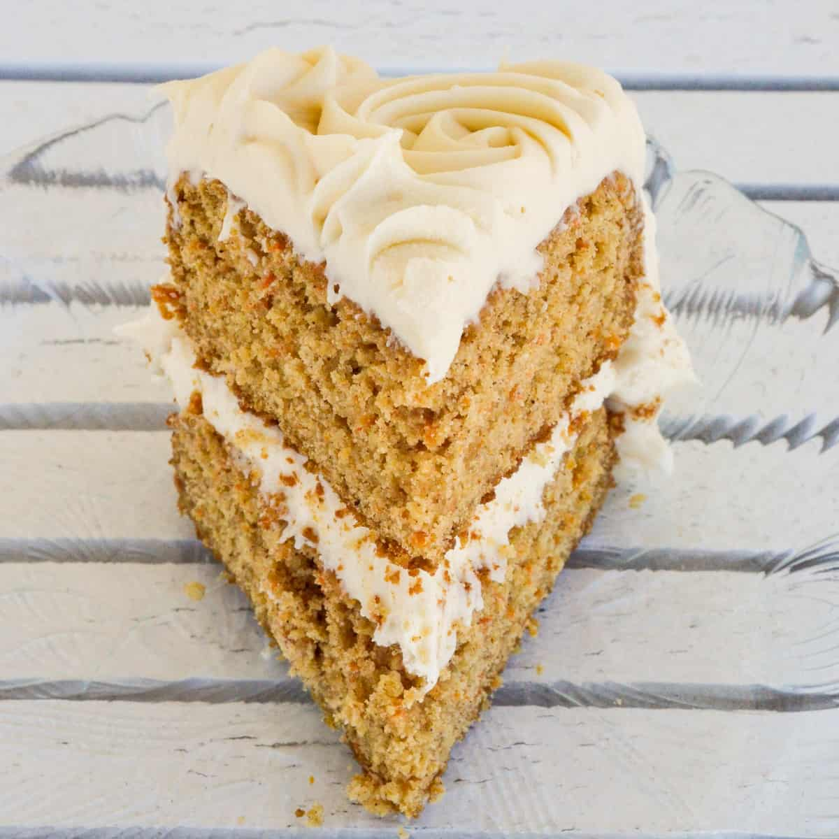Front view of one slice of Gluten-Free Carrot Cake.