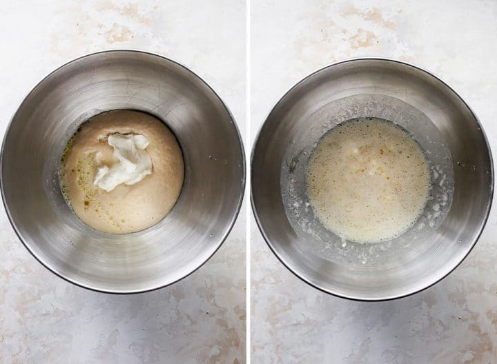 two photos showing How to Make Naan Bread - proofing yeast and adding wet ingredients