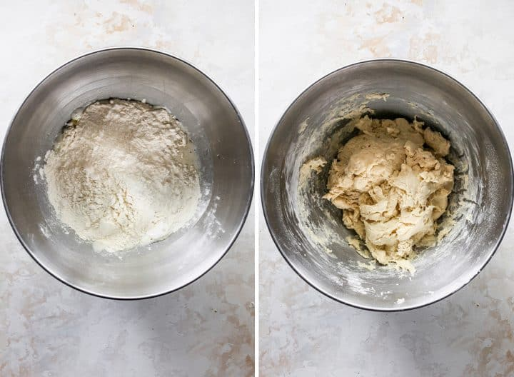 two photos showing How to Make Naan Bread - adding dry ingredients and making the dough