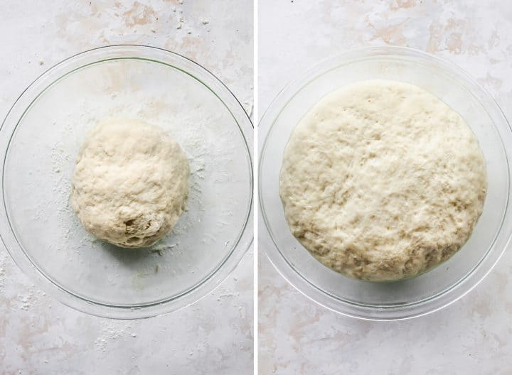 two photos showing How to Make Naan Bread, the dough before and after rising in a glass bowl
