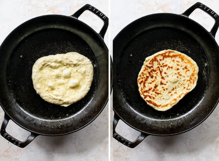 two photos showing How to Make Naan Bread - cooking it in a cast iron skillet