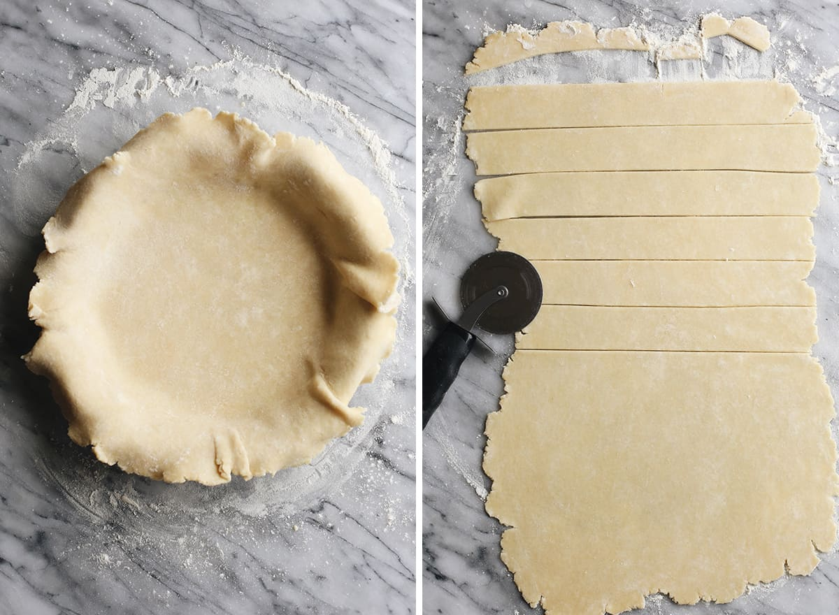 two photos showing how to form the dough for this peach pie recipe