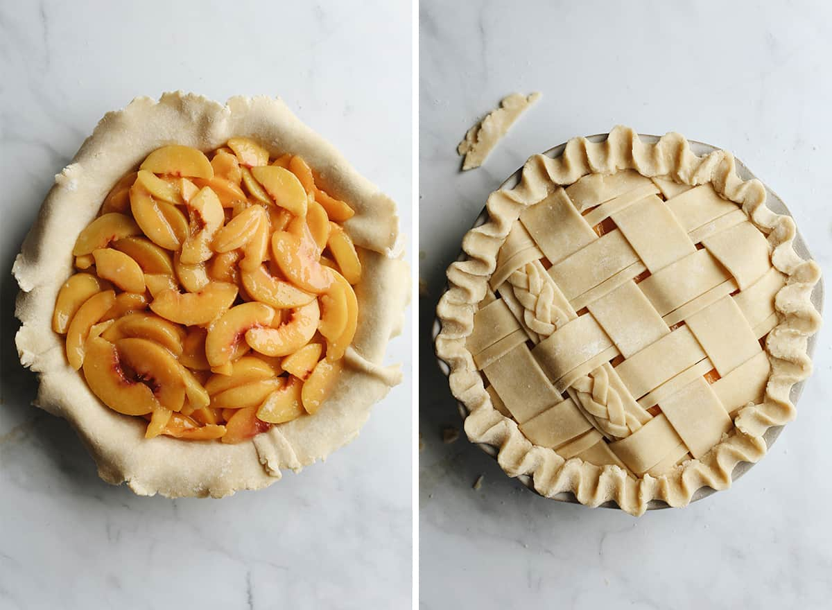 two photos showing how to assemble a peach pie with a double crust