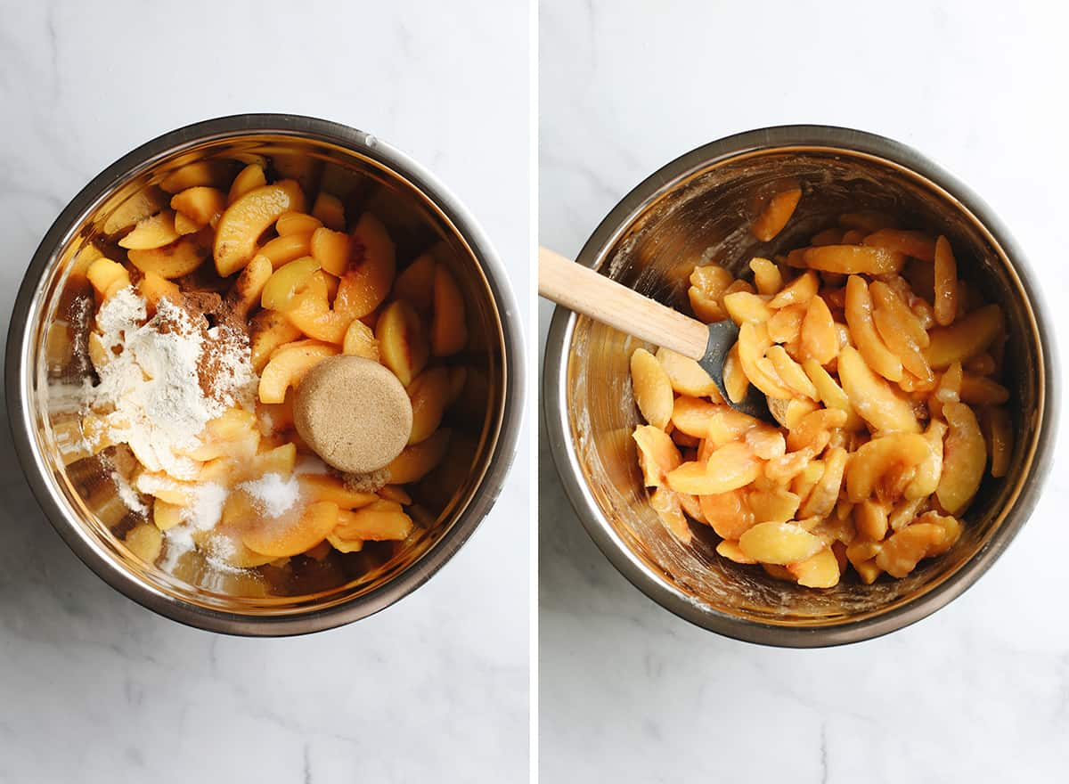 two photos showing How to Make Peach Pie Filling in a bowl