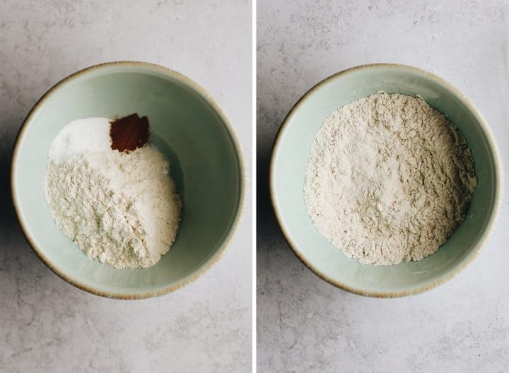 two overhead photos showing How to Make Monster Cookies - mixing dry ingredients