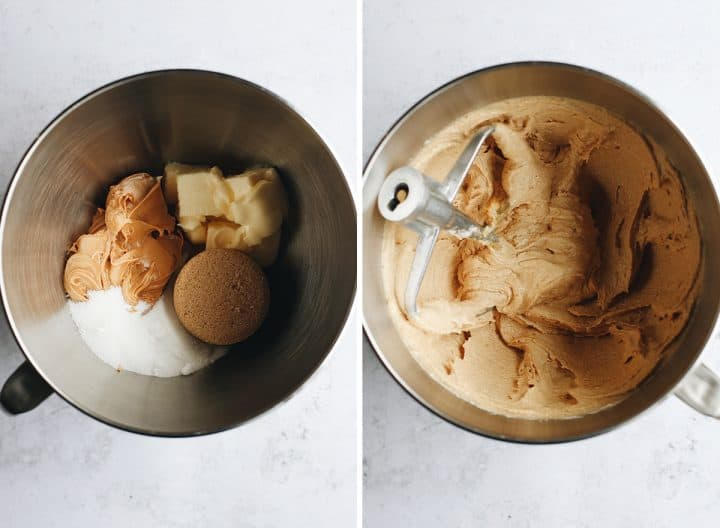 two overhead photos showing How to Make Monster Cookies - creaming butter, sugars and peanut butter